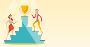Two caucasian business women competing for the trophy. Two competitive business women running up for the winner cup. Business competition concept. Vector flat design illustration. Horizontal layout.