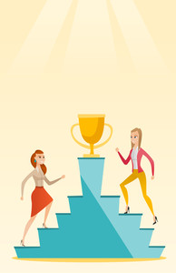 Two caucasian business women competing for the trophy. Two competitive business women running up for the winner cup. Business competition concept. Vector flat design illustration. Vertical layout.