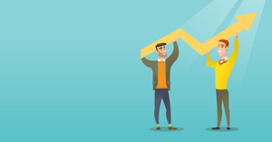Two happy caucasain businessmen holding business growth graph. Successful business people carrying graph indicating growth. Business growth concept. Vector flat design illustration. Horizontal layout.