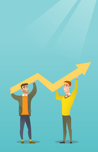 Two happy caucasain businessmen holding business growth graph. Successful business people carrying graph indicating growth. Business growth concept. Vector flat design illustration. Vertical layout.