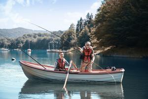 Two men relaxing and fishing