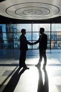 Two middle-aged businessmen standing against panoramic window of office lobby and shaking hands, full-length portrait