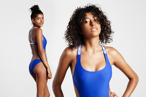 two portraits of the same woman wears swimsuit