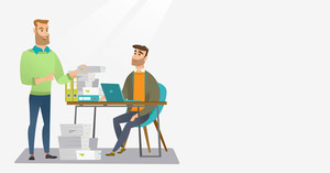 Unhappy caucasian office worker receiving a lot of paperwork. Happy office worker giving a lot of paperwork to his colleague. Concept of paperwork. Vector flat design illustration. Horizontal layout.