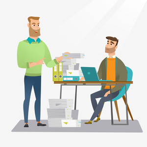 Unhappy caucasian office worker receiving a lot of paperwork. Happy office worker giving a lot of paperwork to his colleague. Concept of paperwork. Vector flat design illustration. Square layout.