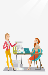 Unhappy caucasian office worker receiving a lot of paperwork. Happy office worker giving a lot of paperwork to his colleague. Concept of paperwork. Vector flat design illustration. Vertical layout.