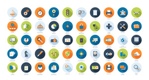 Vector collection of flat SEO and technology icons. Design elements for mobile and web applications.