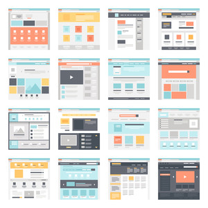 Vector collection of flat website templates on blue background.