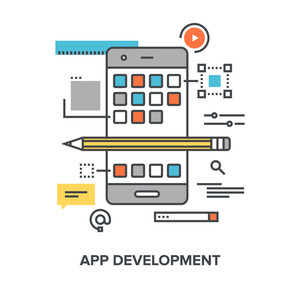 Vector illustration of app development flat line design concept.