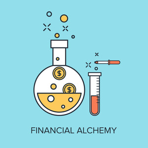 Vector illustration of financial alchemy flat line design concept.