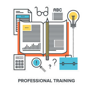 Vector illustration of professional training flat line design concept.