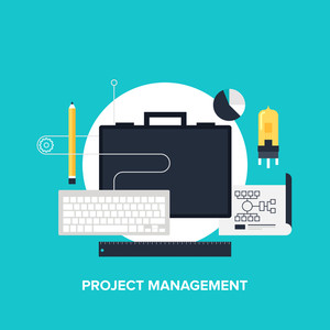 Vector illustration of project management flat design concept.