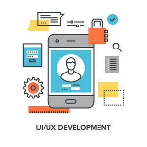 Vector illustration of ui ux developmentflat line design concept.