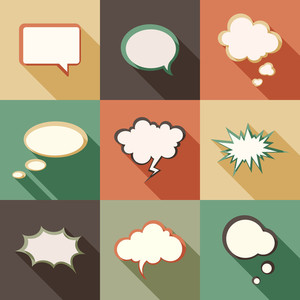 Vector set different retro styled speech bubbles.