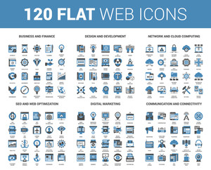 Vector set of 120 flat web icons on following themes - business and finance, design and development, network and cloud computing, SEO and web optimization, digital marketing, communication