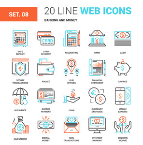 Vector set of banking and money line web icons. Each icon with adjustable strokes neatly designed on pixel perfect 64X64 size grid. Fully editable and easy to use.