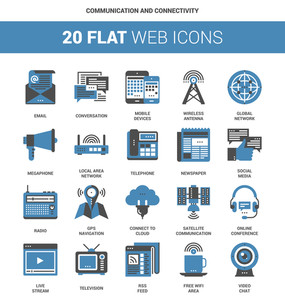 Vector set of communication and connectivity flat web icons. Each icon neatly designed on pixel perfect 64X64 size grid. Fully editable and easy to use.