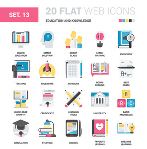 Vector set of education and knowledge flat web icons. Each icon neatly designed on pixel perfect 64X64 size grid. Fully editable and easy to use.