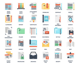 Vector set of files and documents flat web icons. Each icon neatly designed on pixel perfect 48X48 size grid. Fully editable and easy to use.