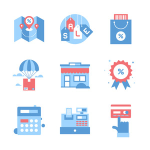 Vector set of flat shopping and commerce icons. Icon pack includes following themes - location, sale, retail, delivery, market, discount, budget, new product, card payment