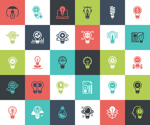 Vector set of light bulbs flat line web icons. Each icon with adjustable strokes neatly designed on pixel perfect 48X48 size grid. Fully editable and easy to use.