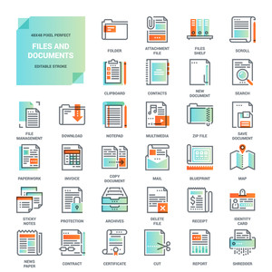 Vector set of modern flat line icons