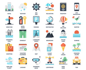 Vector set of travel and vacation flat web icons. Each icon neatly designed on pixel perfect 48X48 size grid. Fully editable and easy to use.