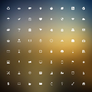 Vector set of universal outlined web icons on blurred background.