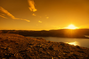 View at the mountain at sunset. Nordkapp, Norway
