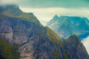 View from the top of the mountain on Lofoten islands, Reine, Norway