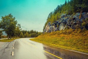 View of a mountain road in rainy weather.  Beautiful nature, Norway.