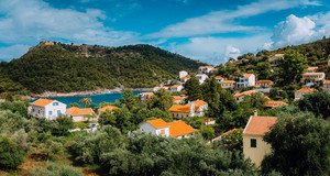 View of beautiful Assos village, Kefalonia island, Greece