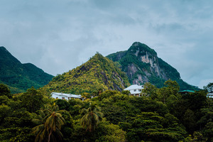 Villas sitting in mountains on Mahe Island, Seychelles
