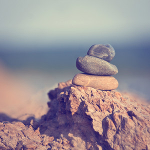 Vintage cairn symbolizes harmony of nature