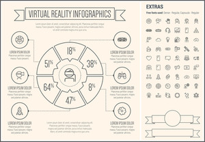 Virtual Reality infographic template and elements. The template includes the following set of icons - Virtual reality headset, gaming, robotic hand, smartphone, megaphone, filmstrip, target board, global, bulb  and more.