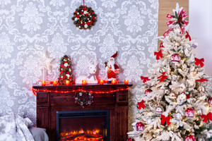 Waiting for Santa to come and spread his happiness. Time to relax near this beautiful fireplace.