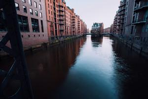 Water castle in old Speicherstadt or Warehouse district, Hamburg, Germany