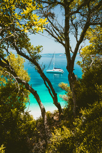 White catamaran yacht in clear blue transparent sea water surface hidden framed by branches of pine tree. Amazing paradise dream like Fteri beach lagoon, Kefalonia, Greece