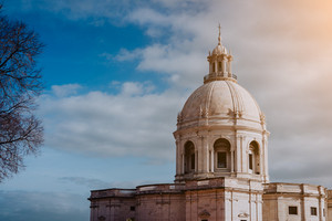 White cupola of the National Pantheon in sun light. Lisbon. Lisboa Lissabon