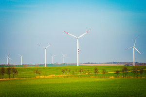 Wind turbines on filed in summer day