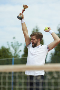 Winner on the tennis court