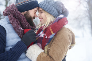 Winter love of two young people