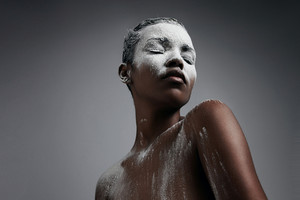 woman covered by white powder