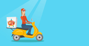 Woman delivering pizza on scooter. Courier driving a motorbike and delivering pizza. Worker of delivery service of pizza. Concept of food delivery. Vector flat design illustration. Horizontal layout.