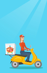 Woman delivering pizza on scooter. Courier driving a motorbike and delivering pizza. Worker of delivery service of pizza. Concept of food delivery. Vector flat design illustration. Vertical layout.