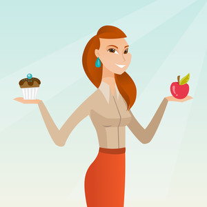 Woman holding an apple and a cupcake in hands. Woman choosing between an apple and a cupcake. Concept of choice between healthy and unhealthy nutrition. Vector flat design illustration. Square layout.
