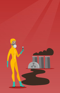 Woman in radiation protective suit standing on the background of nuclear power plant. Caucasian woman in radiation protective suit holding test-tube. Vector flat design illustration. Vertical layout.