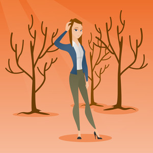 Woman scratching head in dead forest. Illustration of woman in dead forest caused by global warming or wildfire. Concept of environmental destruction. Vector flat design illustration. Square layout.