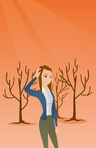Woman scratching head in dead forest. Illustration of woman in dead forest caused by global warming or wildfire. Concept of environmental destruction. Vector flat design illustration. Vertical layout.