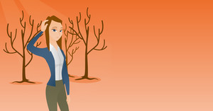 Woman scratching head in dead forest. Illustration of woman in dead forest caused by global warming or wildfire. Environmental destruction concept. Vector flat design illustration. Horizontal layout.